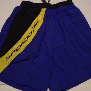 Mens Speedo Purple Black Casual Swim Trunks Shorts